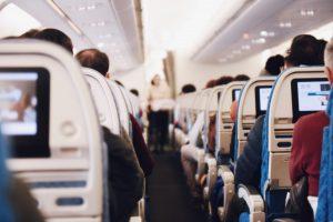 Passengers inside a plane cabin
